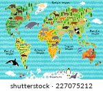animal map of the world with... | Shutterstock .eps vector #227075212