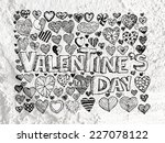heart drawing and valentines... | Shutterstock . vector #227078122