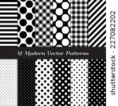 black and white gingham  polka... | Shutterstock .eps vector #227082202