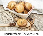 small mini muffins in a basket... | Shutterstock . vector #227098828
