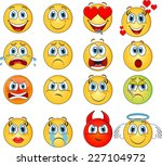 emoticons set | Shutterstock .eps vector #227104972