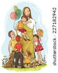 jesus with children. christian... | Shutterstock . vector #227182942