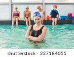 cute swimming class watching... | Shutterstock . vector #227184055