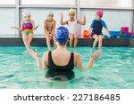 cute swimming class watching... | Shutterstock . vector #227186485