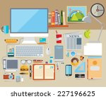 icon collection in stylish... | Shutterstock .eps vector #227196625