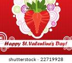 strawberry love  valentine card  | Shutterstock .eps vector #22719928