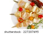 served chicken shish kebab on...   Shutterstock . vector #227207695