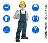 man dressed in work clothes ... | Shutterstock .eps vector #227215432