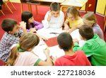 group of elementary school... | Shutterstock . vector #227218036
