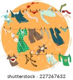 Stock vector colorful laundry drying on a washing lines vector illustration 227267632