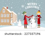 a couple making a snowman in... | Shutterstock .eps vector #227337196
