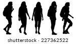 vector silhouette of woman with ... | Shutterstock .eps vector #227362522