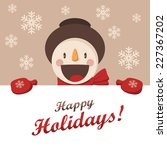 Happy Snowman greets you. Christmas background with snowflakes. Card for the New Year or Christmas - stock photo