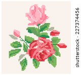 roses pattern. stitching design.... | Shutterstock .eps vector #227374456