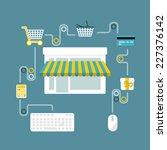 online store flat design... | Shutterstock .eps vector #227376142