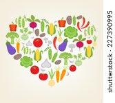 i love vegetables. vector... | Shutterstock .eps vector #227390995