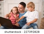 happy family of father son and... | Shutterstock . vector #227392828