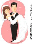 newlywed bride   groom  just... | Shutterstock .eps vector #227401618