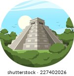 maya pyramid old mexican stone... | Shutterstock .eps vector #227402026