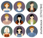 boys and girls icons set in... | Shutterstock .eps vector #227417842