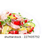 warm meat salad with vegetables.... | Shutterstock . vector #227435752