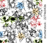 colorful iris seamless pattern... | Shutterstock . vector #227463436