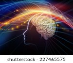 Stock photo human mind series design composed of brain human outlines and fractal elements as a metaphor on 227465575
