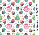 colorful pattern with teapots... | Shutterstock .eps vector #227472952