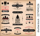 vintage retro labels vector... | Shutterstock .eps vector #227494126