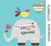 Stock vector cute elephant with bird vector illustration 227508076
