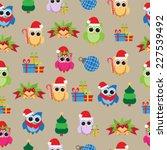 christmas owl seamless pattern | Shutterstock .eps vector #227539492