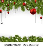 winter background with spruce... | Shutterstock .eps vector #227558812