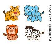 animal vector cartoon set tiger ... | Shutterstock .eps vector #227569078