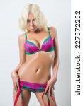 blonde sexy woman in pink... | Shutterstock . vector #227572252