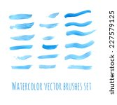 hand drawn blue watercolor... | Shutterstock .eps vector #227579125