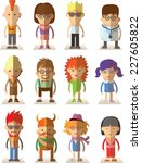 set of vector cute character... | Shutterstock .eps vector #227605822