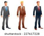 business men posing set | Shutterstock .eps vector #227617228
