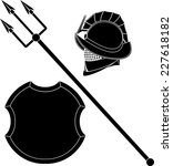 gladiators helmet and trident... | Shutterstock .eps vector #227618182