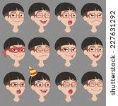 set of cartoon toothless asian... | Shutterstock .eps vector #227631292