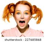 screaming funny teen model girl ... | Shutterstock . vector #227685868