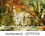 white castle - artwork in painting style - stock photo