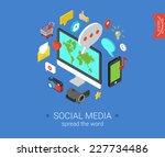 social media flat 3d isometric...   Shutterstock .eps vector #227734486