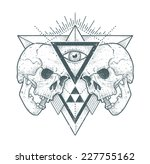 dot work skull illustration... | Shutterstock .eps vector #227755162