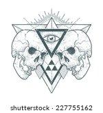 dot work skull illustration... | Shutterstock .eps vector #227755162