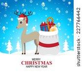 christmas deer gift   Shutterstock .eps vector #227766442