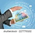 man hands using tablet pc....   Shutterstock . vector #227770102