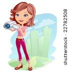 vector girl with camera | Shutterstock .eps vector #22782508