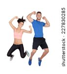young active sportswear jumping ... | Shutterstock . vector #227830285