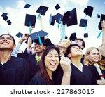 graduation caps thrown in the... | Shutterstock . vector #227863015