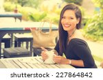 coffee. beautiful  asian girl... | Shutterstock . vector #227864842
